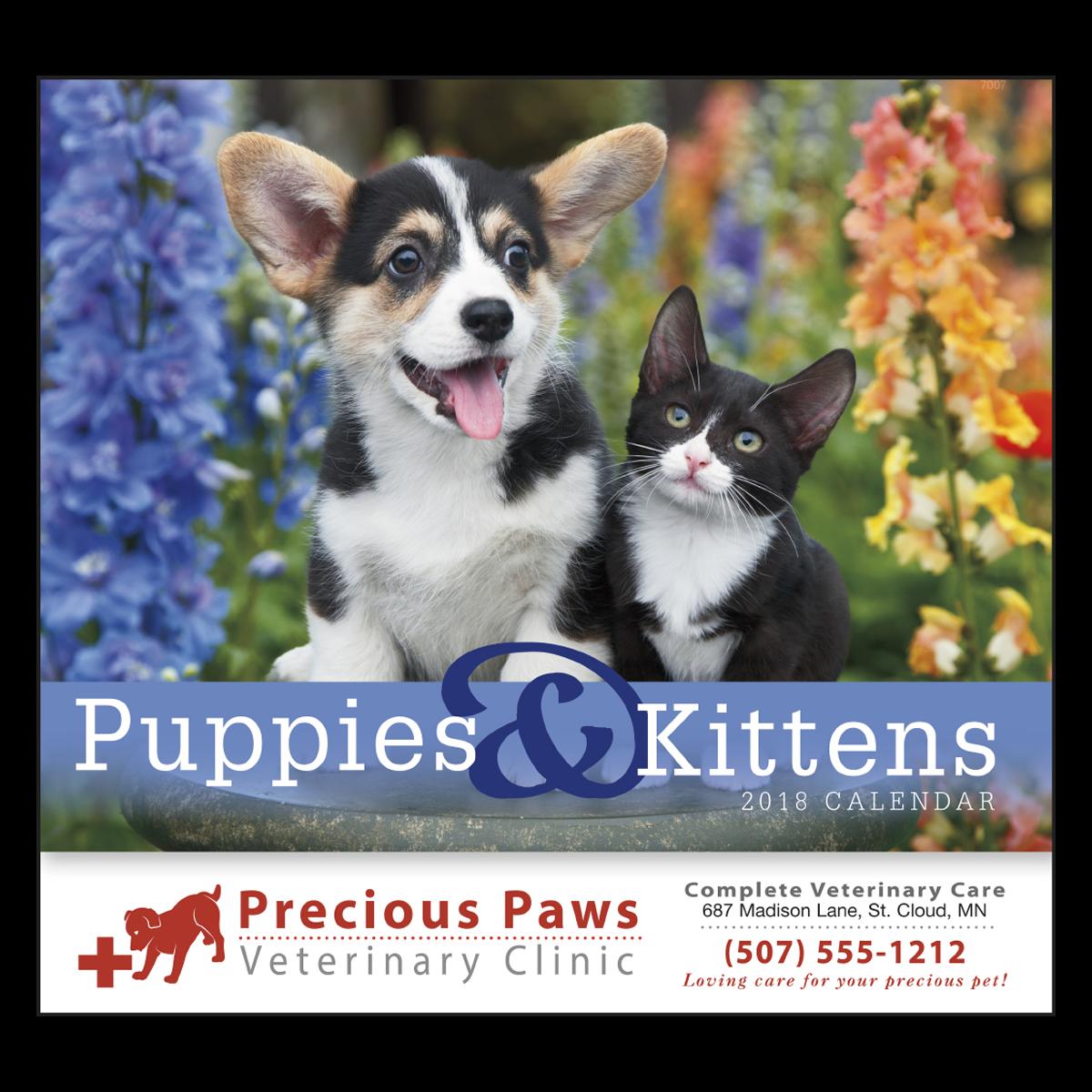 Puppies & Kittens Wall Calendar