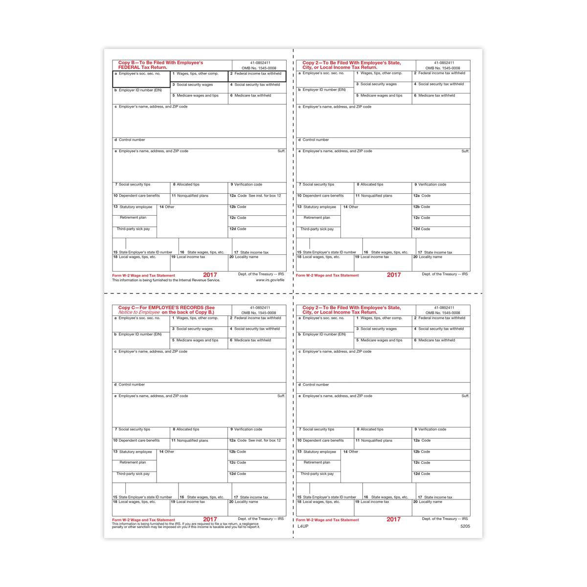 Form W-2 - Condensed B/C/2/2 - 4up (5205) | Mines Press