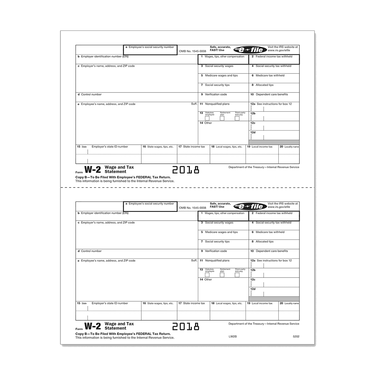 Form W-2 Copy B - Employee Federal IRS 5202 | Mines Press
