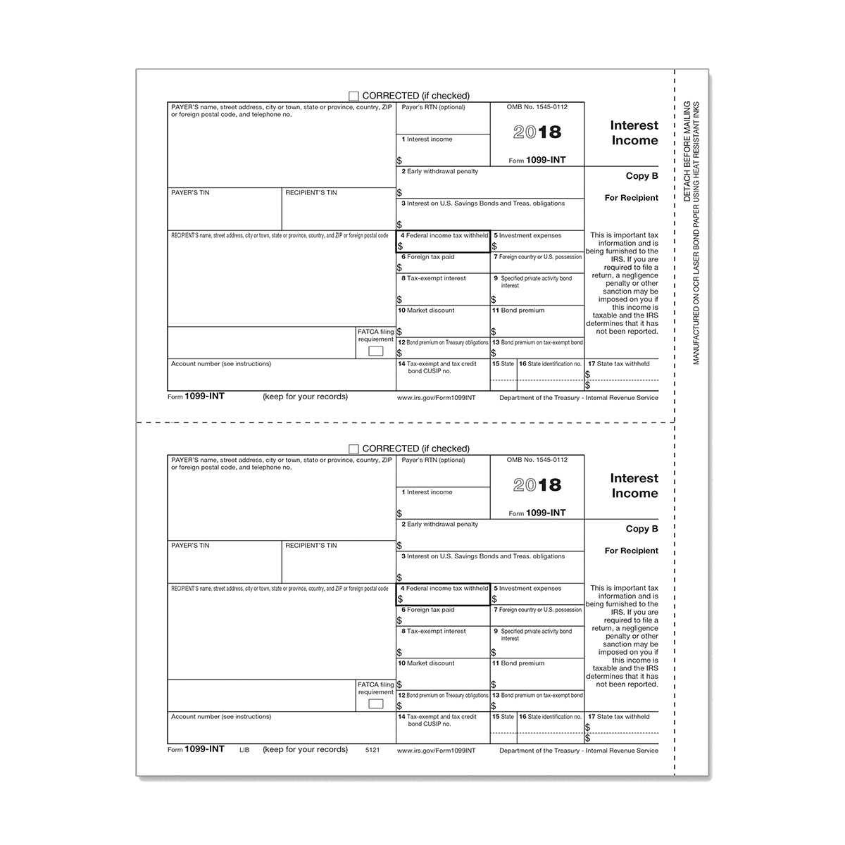 Form 1099 Int Payer State Copy 2 Mines Press