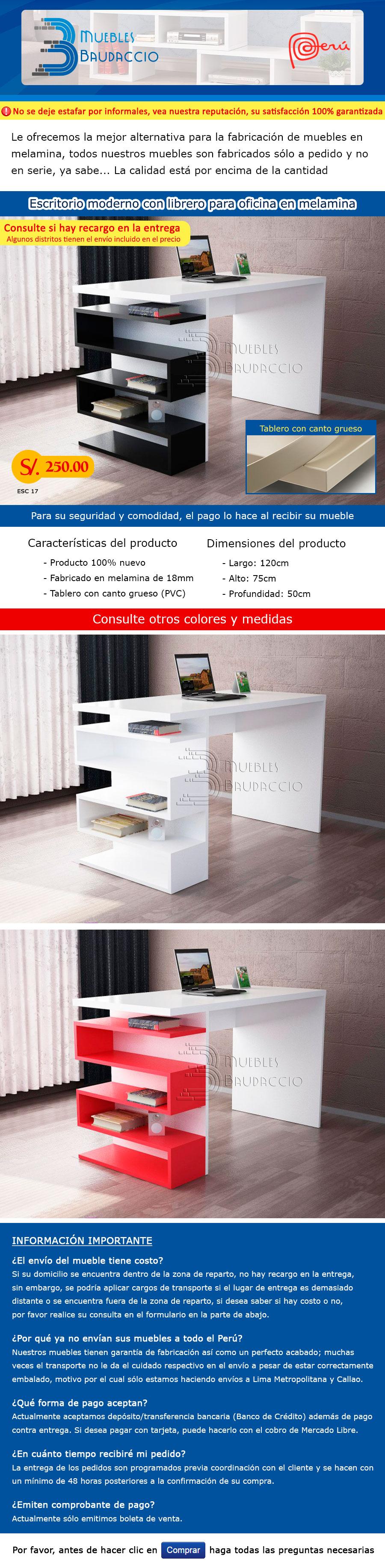 Escritorio moderno con librero para oficina en melamine