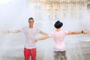 Erfrischen an den städtischen Brunnen