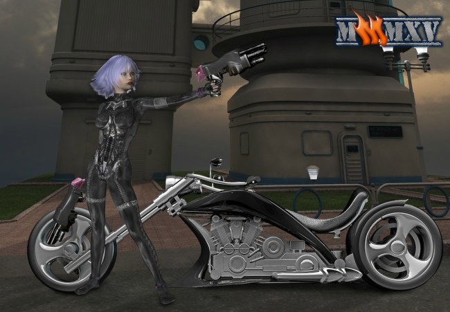 Main character Daughter Slaughter and one of the many motorcycle options