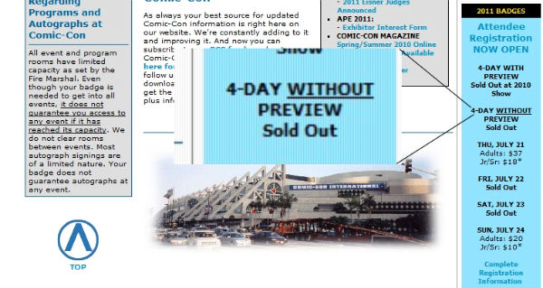 Comic Con 2011 Sold Out
