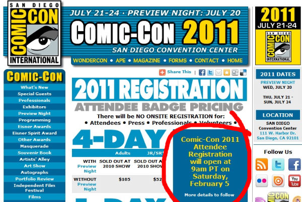 Comic Con 2011 Tickets About To Go On Sale: Prepare For Battle *fixed*