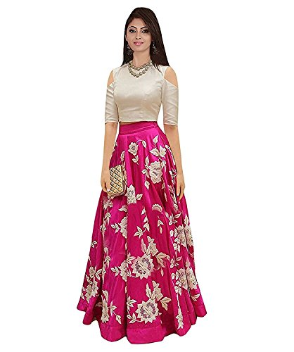 Jalpari Fashion Women's Silk Semi-stitched Lengha Choli Price in India