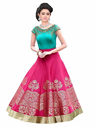 Snehi Pink & Blue Color Party Wear Semi-Stitched Embroidered Heavy Silk Anarkali With Heavy Designer Heavy Silk Top Price in India