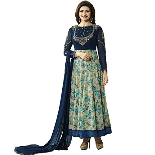 AnK Women's Blue Printed Embroidered Anarkali Semi Stitched Salwar Suit with Plain Dupatta Price in India