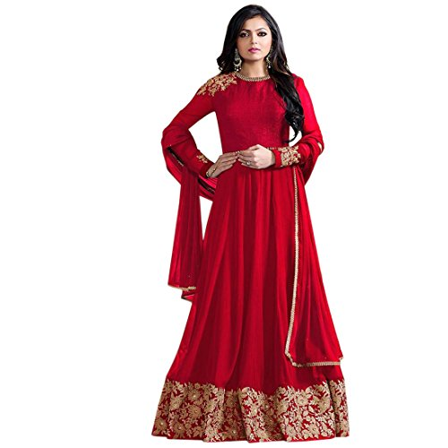 Bipolar Life Red Color Faux Georgette Embroidery Semi Stitched Anarkali Salwar Suit Price in India