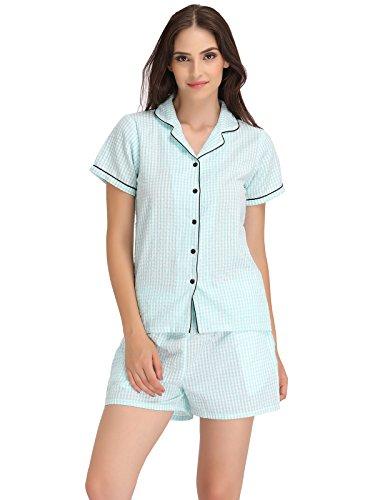 Clovia Women Checked Shirt & Shorts Set Price in India