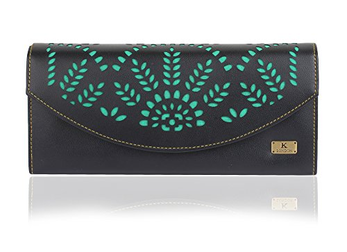 Quenchy London Black,Pink And Green Women's Wallet Price in India