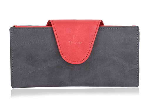 K London Women's Wallet Red & Grey-1513_greyred Price in India