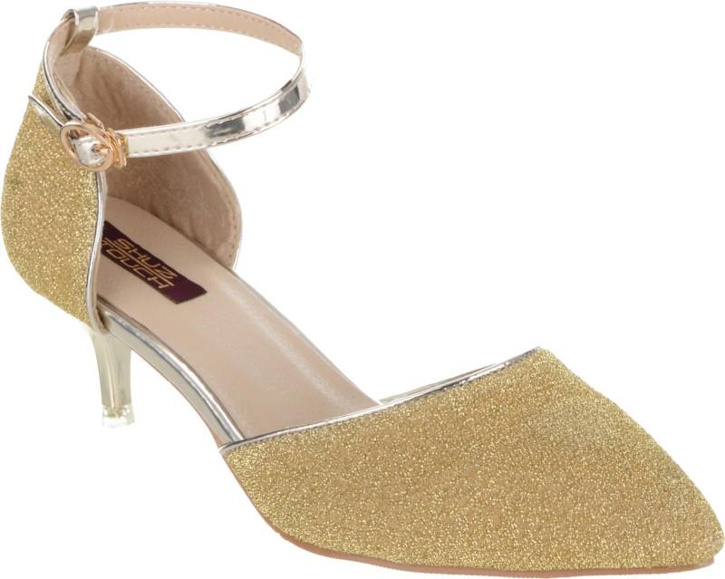 Shuz Touch Women GOLDEN Heels Price in India