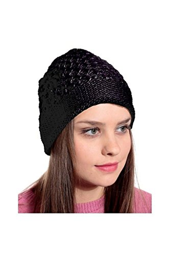 Krystle Black Woolen Cap for Women Price in India