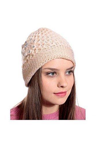 Krystle Cream Woolen Cap for Women Price in India