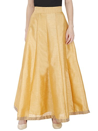 DAMEN MODE Women Golden Silk Skirt Free Size Price in India