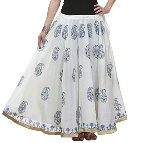 NIKA Chanderi Art Silk Hand Block Printed Long Skirt Price in India