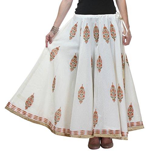 NIKA Chanderi Art Silk Hand Block Printed Long Skirt Price in India