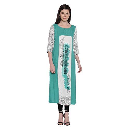 Rangmanch By Pantaloons Women's Straight Fit Rayon Kurta Price in India