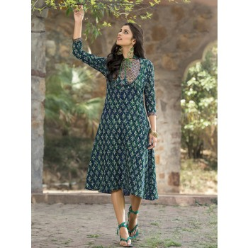 Poly Cotton Green Printed Stitched Long Kurti - VK4225 Price in India