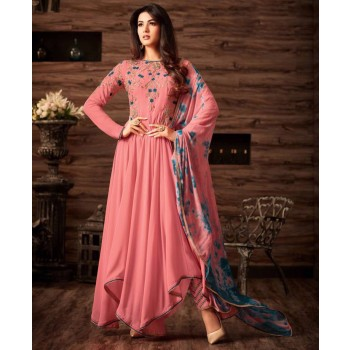Gopinath Collection Sonal Chauhan Georgette Pink Embroidered Semi Stitched Pant Style Suit - KTS2508 Price in India