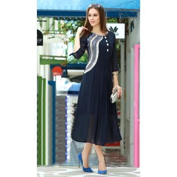 Hayaa The Fashion Georgette Blue Plain Stitched Anarkali Kurti - TI774 Price in India