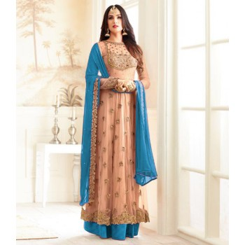 Net Peach Embroidered Semi Stitched Long Anarkali Suit - T292 Price in India