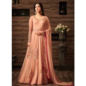 Shopevilla Net Peach Embroidered Semi Stitched Long Anarkali Suit - 4805 Price in India