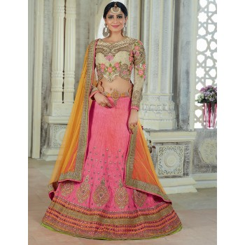 Art Silk Multicolour Embroidered Semi Stitched Lehenga - AH5201 Price in India
