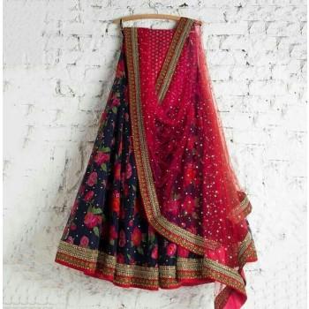 Enter Creation Bhagalpuri Silk Blue Embroidered Semi Stitched Lehenga - 167 Price in India