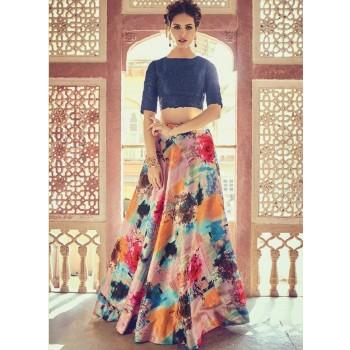 Zoya Georgette Multicolour Printed Semi Stitched Lehenga - ZYA2 Price in India