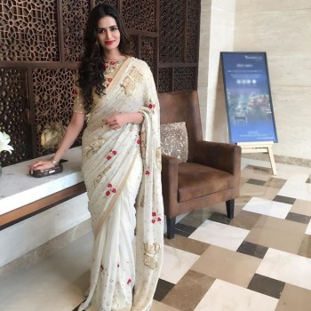 Ma Creation Meenakshi Dixit Georgette White Embroidered Bollywood Designer Saree - MCS23 Price in India