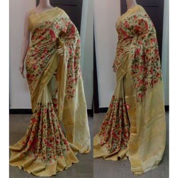 Ma Creation Art Silk Beige Floral Print Saree - A1005 Price in India