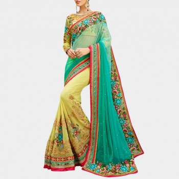 Net Blue & Lime Green Embroidered Half & Half Saree - FF276 Price in India