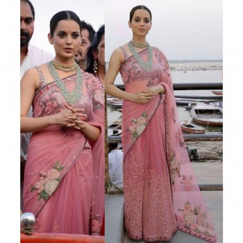 SRK Kangana Ranaut Net Peach Embroidered Bollywood Designer Saree - SN556 Price in India
