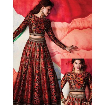 SRK Jacqueline Fernandez Georgette Multicolour Printed Semi Stitched Lehenga - BT168 Price in India