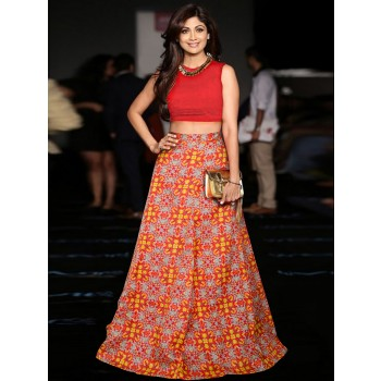 Vastrang Shilpa Shetty Poly Silk Multicolour Printed Semi Sticthed Bollywood Designer Lehenga - VL1L51 Price in India