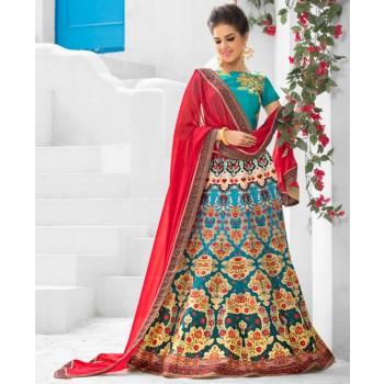 Silk Multicolour Printed Semi Stitched Lehenga - Q107D Price in India