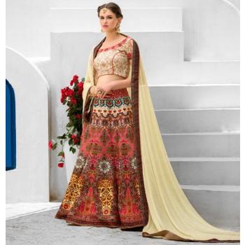 Silk Multicolour Printed Semi Stitched Lehenga - Q102B Price in India