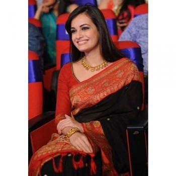 Ma Creation Dia Mirza Zoya Silk Black Embroidered Bollywood Designer Saree - MCS61 Price in India
