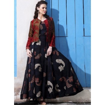 SRK Chanderi Cotton Black Printed Semi Stitched Gown - KD1139 Price in India