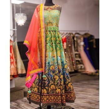 Kapil Enterprises Satin Multicolour Embroidered Semi Stitched Gown - MG11 Price in India