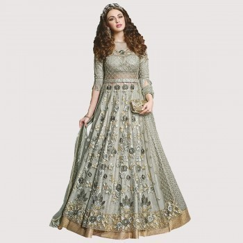 3b5a4c451 Buy JIYA Net Green Embroidered Semi Stitched Anarkali Suit - R324 ...