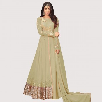 bfb96f0ac JIYA Sonal Chauhan Net Green Embroidered Semi Stitched Anarkali Suit - RF473