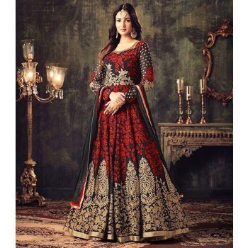 5468fe6294d5 Leela Fashion Sonal Chauhan Georgette Red Embroidered Semi Stitched  Anarkali Suit - MAIS1