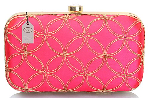 Mammon Women's Bridal Clutch with Golden sling Price in India