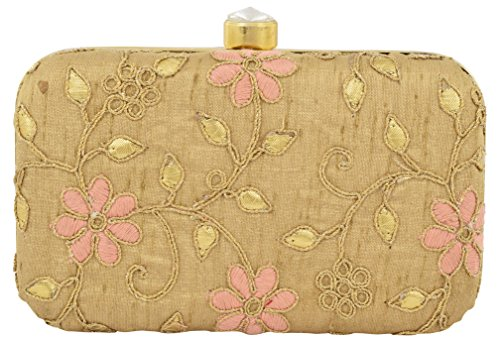 Tooba Handcrafted GOLDGWPF Women's Box Clutch Price in India