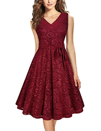 Vaidehi Creation Women's Elegant A Line V Neck Floral Sleeveless Knee Length Swing Lace Dress Price in India
