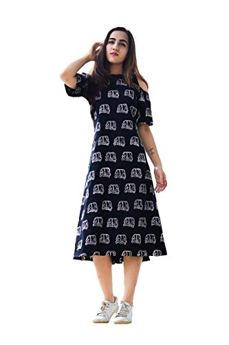 Royal Export Women's Black Printed Cotton Dress Price in India