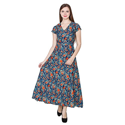 My Swag Women's Multicolur V Neck Floral Printed Maxi Dress Price in India